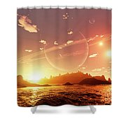 A Scene On A Distant Moon Orbiting Shower Curtain