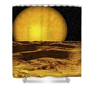 A Scene On A Moon Of Upsilon Andromeda Shower Curtain