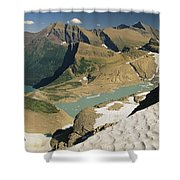 A Scenic View Of Lakes In Glacier Shower Curtain