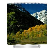 A Scenic View Of Yellow And Green Trees Shower Curtain