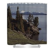 A Scenic View Of Yellowstone Lake Shower Curtain