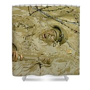 A Seabee Emerges From Muddy Water Shower Curtain by Stocktrek Images