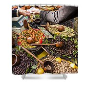 A Selection Of Olives Sit Shower Curtain