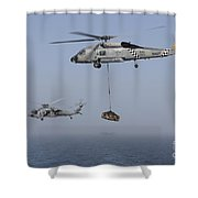 A Sh-60j Seahawk And A Mh-60s Shower Curtain