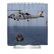 A Sh-60j Seahawk Transfers Cargo Shower Curtain