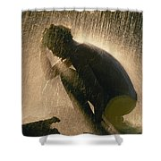 A Silhouetted Man Cooling Off In Water Shower Curtain