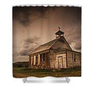 A Simple Wooden Church Shower Curtain