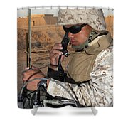 A Single-channel Radio Operator Works Shower Curtain by Stocktrek Images