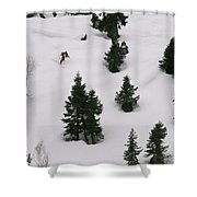 A Skier Makes His Way Down A Hill Shower Curtain