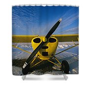 A Small Personal Aircraft Sitting Shower Curtain