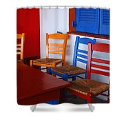 Colorful Table And Chairs Greece Shower Curtain