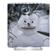 A Smiling Snowman With Twig Arms Shower Curtain