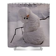 A Snowman Sitting In The Snow Shower Curtain