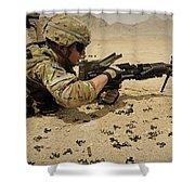 A Soldier Clears The Mk-48 Machine Gun Shower Curtain