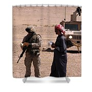 A Soldier Communicates With A Local Shower Curtain