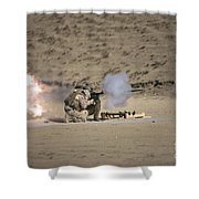 A Soldier Fires A Rocket-propelled Shower Curtain
