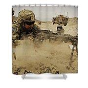 A Soldier Firing His Mk-48 Machine Gun Shower Curtain