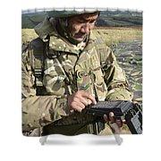 A Soldier Inputs The Firing Data Shower Curtain