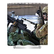 A Soldier Keeps A Close Watch Shower Curtain