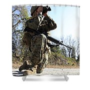 A Soldier Looking Through Binoculars Shower Curtain