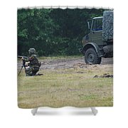 A Soldier Of The Belgian Artillery Unit Shower Curtain