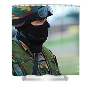 A Soldier Of The Special Forces Group Shower Curtain by Luc De Jaeger