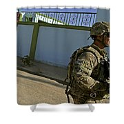 A Soldier Patrols The Streets Of Qalat Shower Curtain