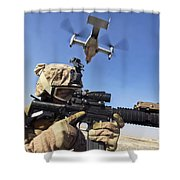 A Soldier Provides Security As An Mv-22 Shower Curtain