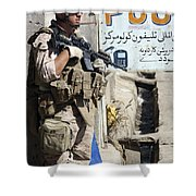 A Soldier Provides Security Shower Curtain