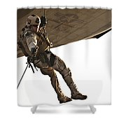 A Soldier Rappels From An Mh-60s Shower Curtain