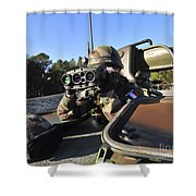 A Soldier Scans The Horizon Shower Curtain