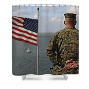 A Soldier Stands At Attention On Uss Shower Curtain