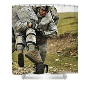 A Soldier Transports A Fellow Wounded Shower Curtain