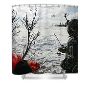 A Soldier Uses Red Smoke To Signal Shower Curtain
