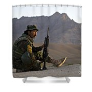 A Soldier With The Afghan National Army Shower Curtain