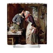 A Son's Devotion Shower Curtain by Pierre Jean Edmond Castan