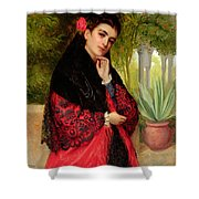 A Spanish Beauty Shower Curtain by John-Bagnold Burgess