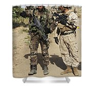 A Spanish Marine Points Out An Shower Curtain