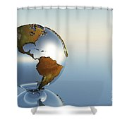 A Sphere Holding North And South Shower Curtain