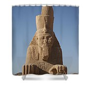 A Sphinx Sits In The Sun Slowly Eroding Shower Curtain
