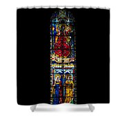A Stained Glass Window Lit By The Day Shower Curtain