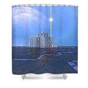 A Star Shines On Alien Architecture Shower Curtain