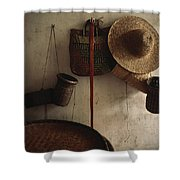 A Straw Hat, Straw Baskets And A Belt Shower Curtain
