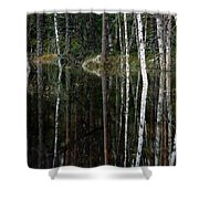 A Stream At High Water In A Woodland Shower Curtain