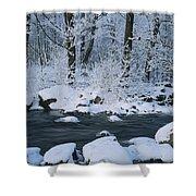 A Stream Running Through Snowy Woodland Shower Curtain