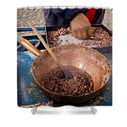 A Street Vendor Boils Sweet Peanuts Shower Curtain
