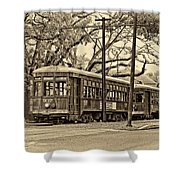 A Streetcar Named St. Charles Sepia Shower Curtain