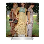 A Summer Shower Shower Curtain by Charles Edward Perugini