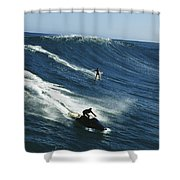 A Surfer And Jet-skier Off The North Shower Curtain