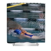 A Swimmer Races Through The Water Shower Curtain